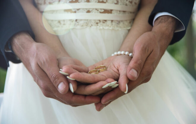 couple with wedding rings
